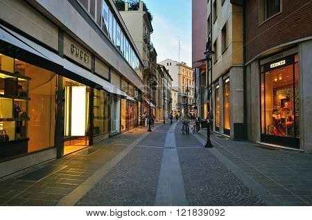 PADOVA ITALY - OCTOBER 3: People goes by the shopping street in Padova city centre on October 3 2012. Padova is a city and comune in the Veneto northern Italy.