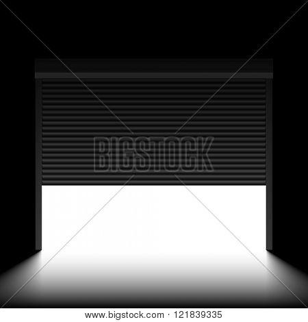 Garage door with rolling shutters, inside view. Vector.