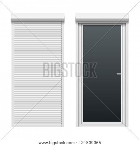 Door with rolling shutters, close and open. Vector illustration.