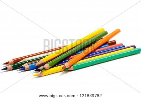 Drawing Supplies, Colour Pencils Isolated On White Background Close Up
