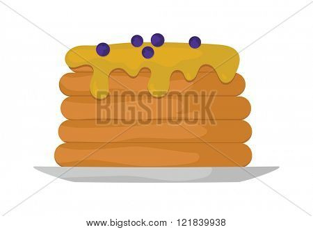 Pancakes with fresh blueberries and maple syrup sweet vector illustration.