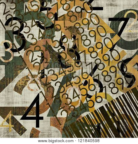 art abstract grunge collage of  number and typo, colorful  background in black, green grey and old gold colors