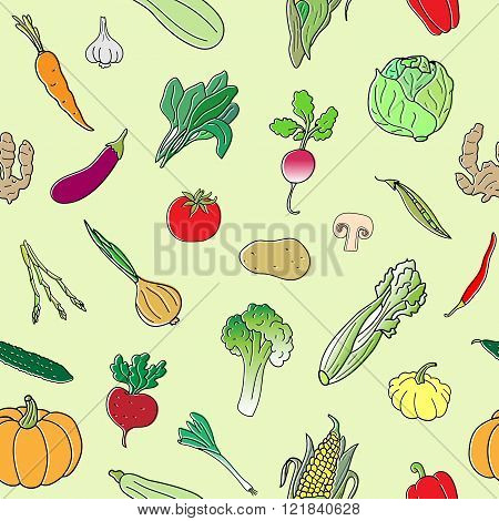 Seamless pattern with hand drawn vegetables. Doodles