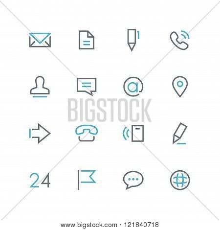 Contacts outline colored icon set