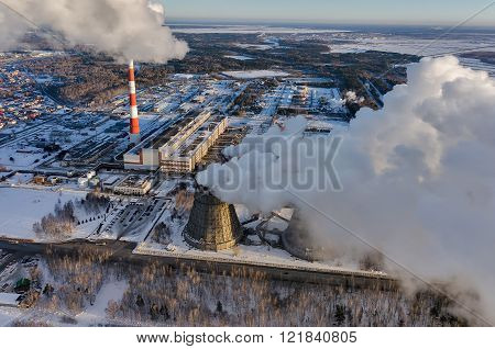 City power plant in a winter season. Tyumen. Russia