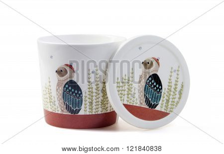 nice mug with lid isolated on white background