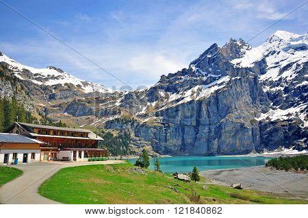 Blue lake Oeschinensee in Bernese oberland, Switzerland