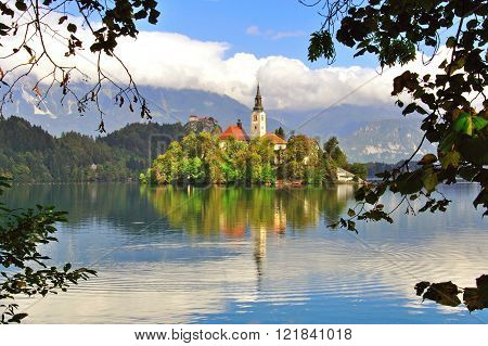 Chapel on the Bled lake in Slovenia