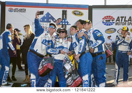 Hampton, GA - Feb 28, 2016: Jimmie Johnson (48) celebrates winning the Folds of Honor QuikTrip 500 at the Atlanta Motor Speedway in Hampton, GA.