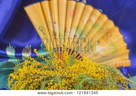 Bouquet Of Mimosa And Chinese Hand Fan Blue Silk