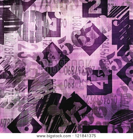 art abstract grunge collage of  number and typo, monochrome  background in lilac purple, black and white colors