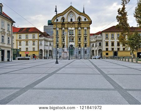 LYUBLYANA SLOVENIA - SEPTEMBER 30: View of the empty city square of Lyublyana on September 30 2012. Lyublyana is the capital and largest city of Slovenia.