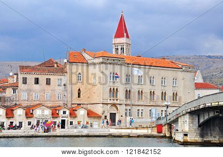 TROGIR CROATIA - AUGUST 25: View of promenade in Trogir on August 25 2012. Trogir is a historic town and harbour on the Adriatic coast in Split-Dalmatia County Croatia.