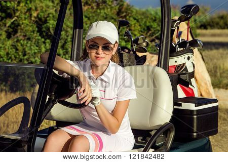 portrait of beautiful golf girl