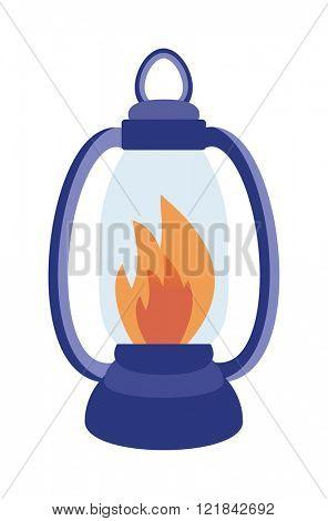 Oil table fire lamp lighting up flat vector illustration.