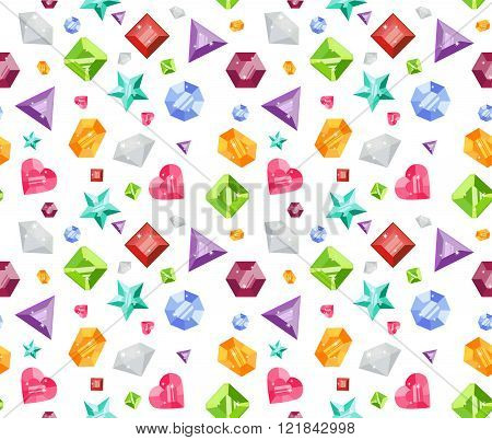 Seamless Pattern With Colorful Precious Gem Icons In Flat Style