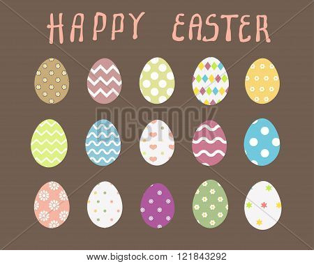 Easter eggs vector icons flat style