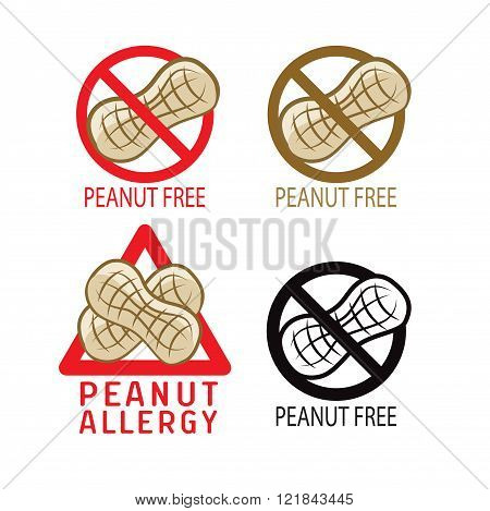 Peanuts Free Symbol Set. I`m Allergic. Vector Illustrations On A White Background. Peanuts Free Desserts. Peanuts Free Vector. Peanuts Free. Food Allergy. Peanut Allergy.