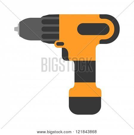 Screwdriver flat vector. Cordless drill electro tools illustration.