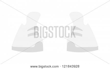 White sneakers fashion sport footwear flat vector illustration.