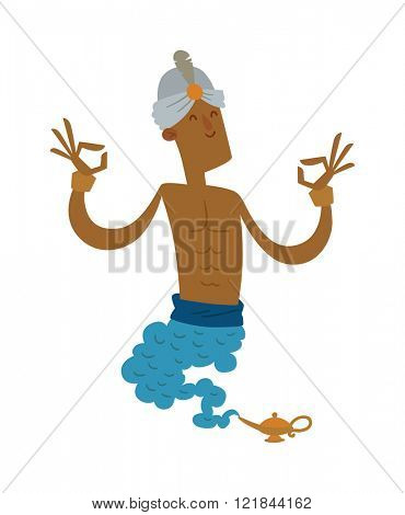 Cartoon strong genie coming out of a magic lamp flat vector illustration.