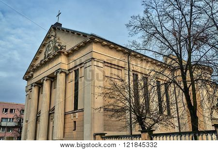 Neoclassical facade Catholic church in Poznan in Poland