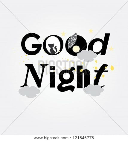 symbol monochrome picture good night to print up cards with cat and stars