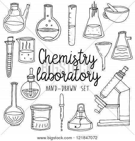 Hand drawn set of chemistry laboratory equipments