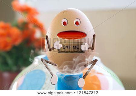 Egg boy cartoon mascot hold sign with text eat me on teakettle and steam background with copy space