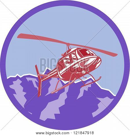 Illustration of a helicopter chopper flying airborne set inside circle with alps mountain in the background done in retro style.