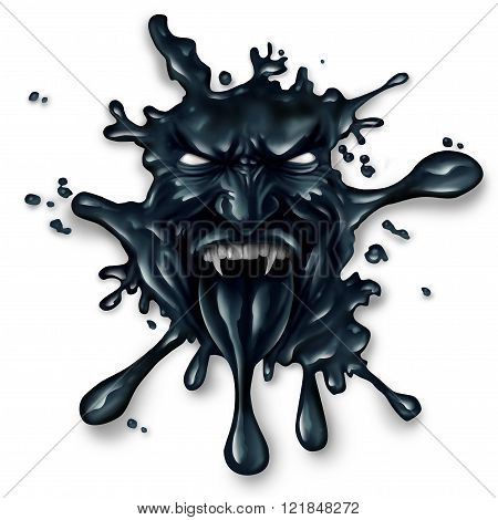 Scary oil spill splash as petroleum leaking with a monster face as a symbol for fossil fuel and crude energy fear concept on a white background.