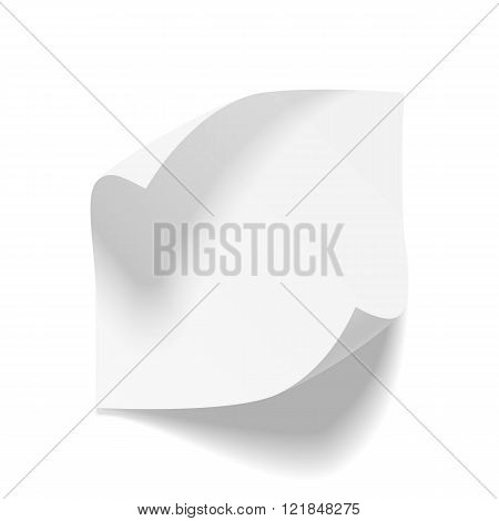 Realistic empty bend paper Sheet