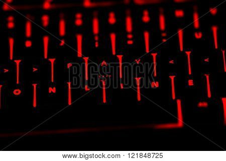 Pay Online Text On The Illuminated Buttons Of The Keyboard