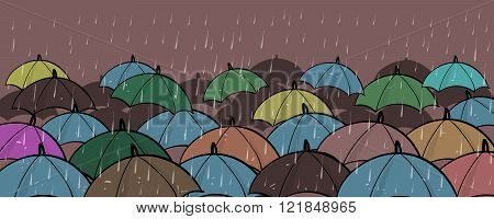Many Colorful Umbrellas Concept Copy Space
