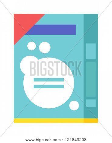 Washing powder container, pack with washing powder for housework cleaning. Pack of housework cleaning washing powder flat vector illustration on white background.