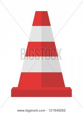 Red road cones barrier and street warning traffic cone flat icon. Construction of red road cones with stripes attention symbol cartoon flat vector illustration.