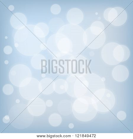 Abstract blue background with flakes and bokeh
