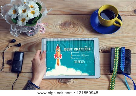 Laptop Computer, Tablet Pc And Best Practice Design Concept On Wooden Office Desk