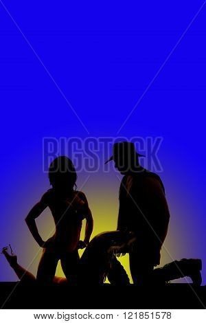 A silhouette of a cowboy kneeling down next to his woman who is also kneeling.