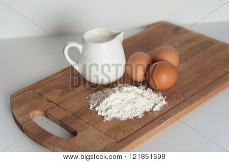 Flour, milk and eggs  Flour, milk and eggs