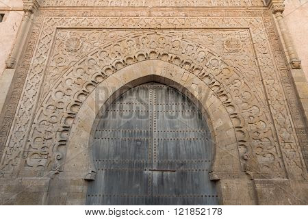 a gate to the ancient Kasbah Les Oudaias in Rabat, Morocco