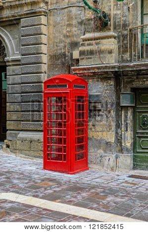 Classic Red Colored Telephone Booth Mostly Seen In The Uk