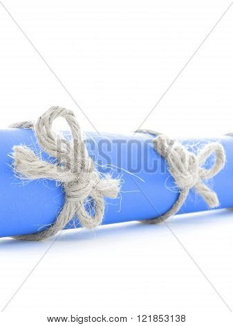 Natural Handmade Rope Bows Tied On Blue Message Scroll Isolated