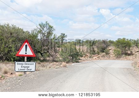 A steep descend warning on the link road in the Mountain Zebra National Park near Cradock in South Africa