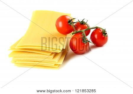 Lasagne Sheets Pasta With Cherry Tomato Isolated On A White