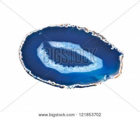 Thin slice of agate geodes with concentric layers separated on white background
