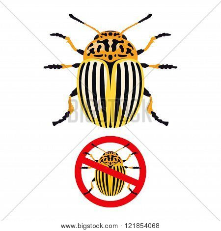 Colorado potato beetle and prohibition sign