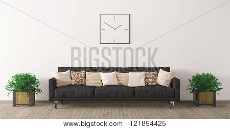Black Sofa Against Of White Wall  3D Render