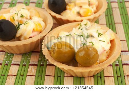 Tartlets With Salad And Olives
