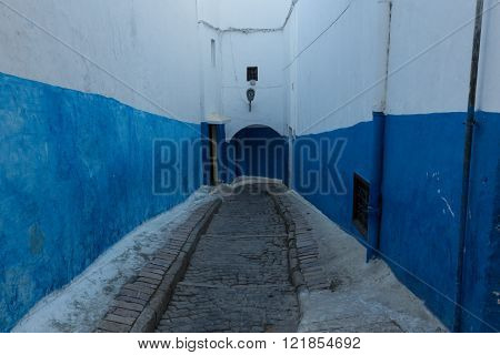 blue and white alleys in the ancient Kasbah Les Oudaias in Rabat, Morocco